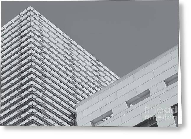 D.w Greeting Cards - Newseum Contrasting Facades II Greeting Card by Clarence Holmes