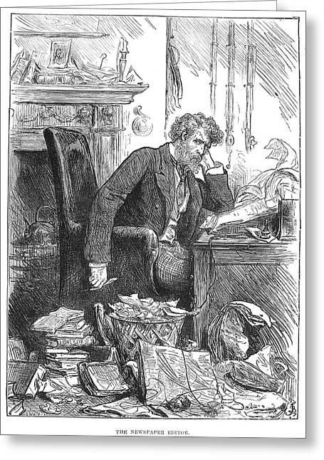 Newspaper Publisher Greeting Cards - Newspaper Editor, 1880 Greeting Card by Granger
