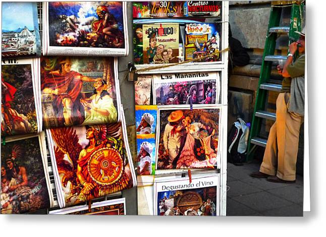 Mexico City Greeting Cards - Newstand D.F. Greeting Card by Skip Hunt