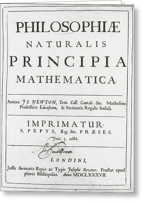 First Edition Greeting Cards - Newtons Principia, Title Page Greeting Card by Science Source