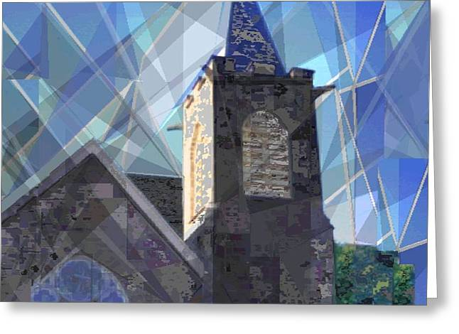 Reverence Digital Art Greeting Cards - Newtown Steeple Greeting Card by Vickie G Buccini