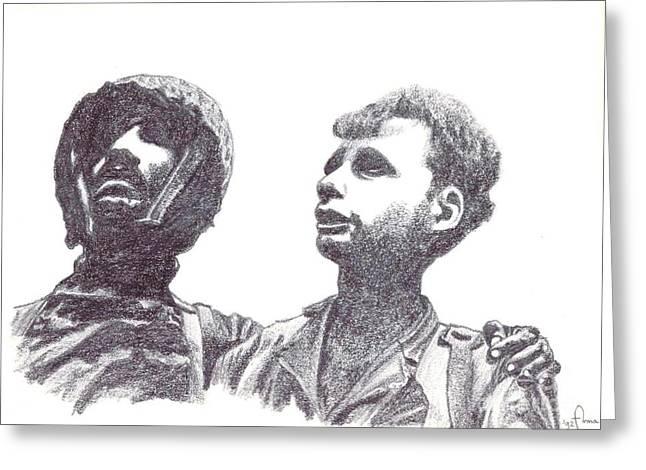 Liberation Drawings Greeting Cards - Next year in Jerusalem Greeting Card by Annemeet Van der Leij