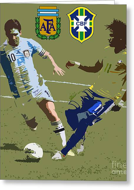 Clash Of Worlds Greeting Cards - Neymar and Lionel Messi Clash of the Titans Art Deco Greeting Card by Lee Dos Santos