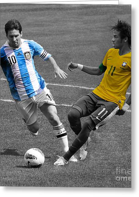Clash Of Worlds Greeting Cards - Neymar and Lionel Messi Clash of the Titans Black and White Greeting Card by Lee Dos Santos