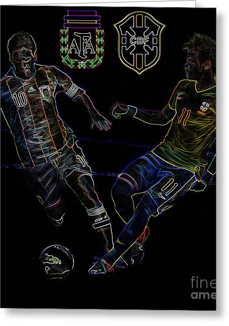 Clash Of Worlds Greeting Cards - Neymar and Lionel Messi Clash of the Titans Neon Greeting Card by Lee Dos Santos