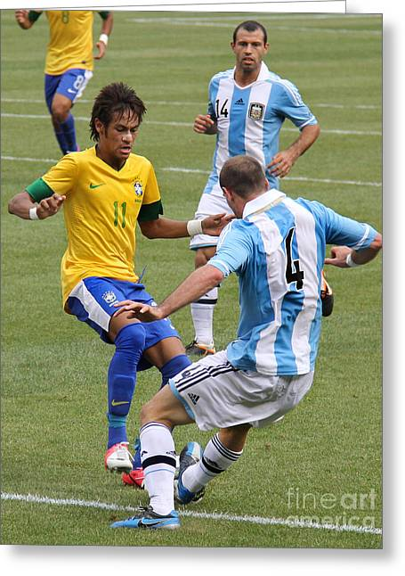 Givanildo Vieira De Souza Greeting Cards - Neymar Breaking Ankles II Greeting Card by Lee Dos Santos