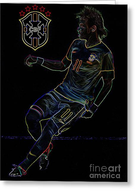 Goalpost Greeting Cards - Neymar Neon II Greeting Card by Lee Dos Santos