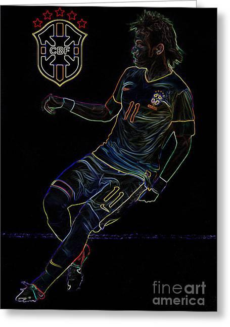 Lionel Messi Kicking Greeting Cards - Neymar Neon II Greeting Card by Lee Dos Santos