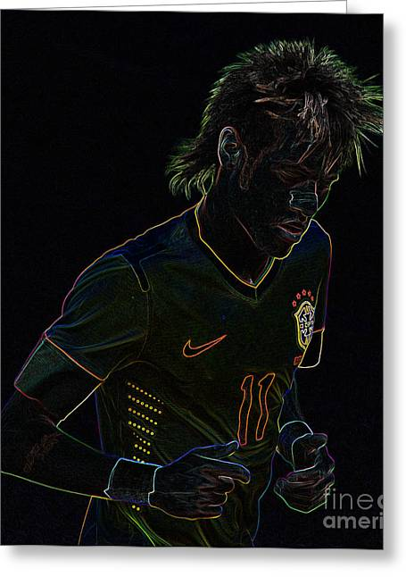 Givanildo Vieira De Souza Greeting Cards - Neymar Neon Greeting Card by Lee Dos Santos
