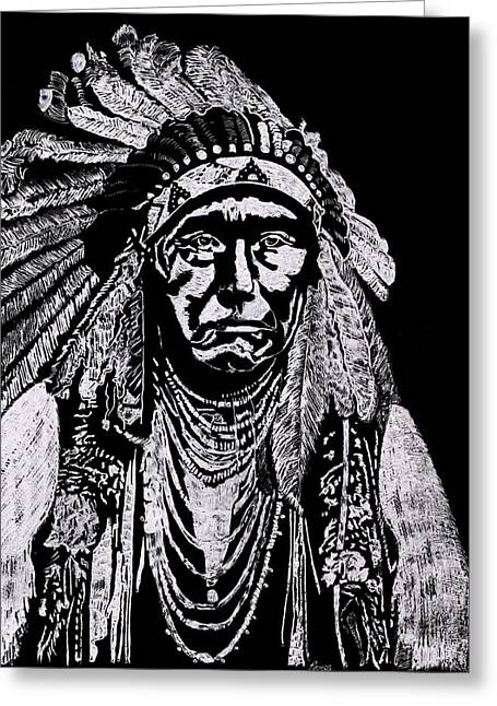 Hand Engraved Glass Art Greeting Cards - Nez Perce Greeting Card by Jim Ross