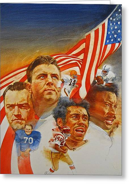 Nfl Hall Of Fame 1984 Game Day Cover Greeting Card by Cliff Spohn