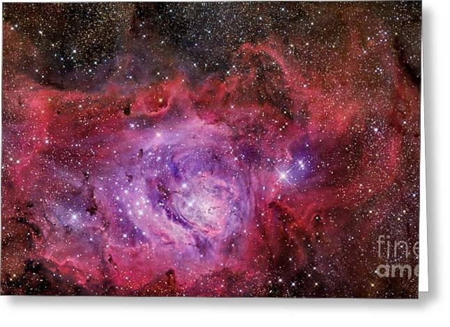 Interstellar Space Greeting Cards - Ngc 6523, The Lagoon Nebula Greeting Card by R Jay GaBany