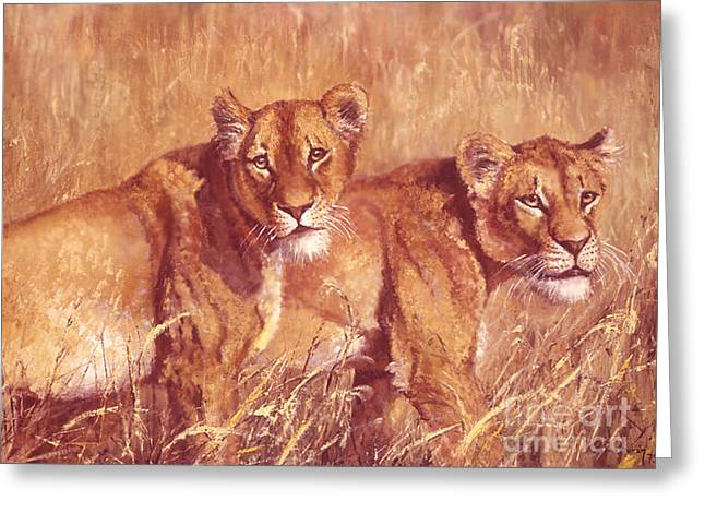 Merging Paintings Greeting Cards - Ngorongoro lionesses Greeting Card by Silvia  Duran