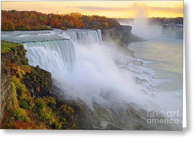 Niagara Falls Greeting Cards - Niagara Falls Autumn Sunset Greeting Card by Charline Xia
