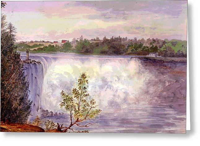 Luna Mixed Media Greeting Cards - Niagara Falls Greeting Card by Charles Shoup