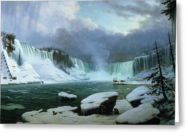 Snowy Tree Greeting Cards - Niagara Falls Greeting Card by Hippolyte Victor Valentin Sebron
