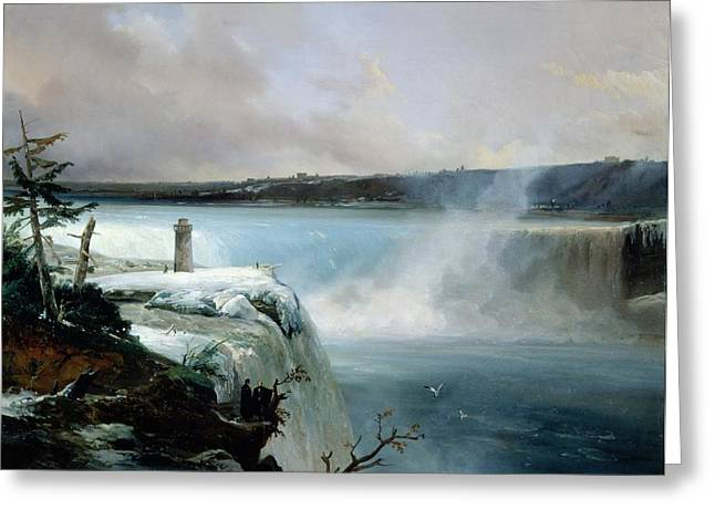 Rushing Water Greeting Cards - Niagara Falls Greeting Card by Jean Charles Joseph Remond