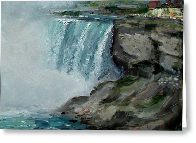 Lanscape Paintings Greeting Cards - Niagara Falls Rocks Greeting Card by Ylli Haruni