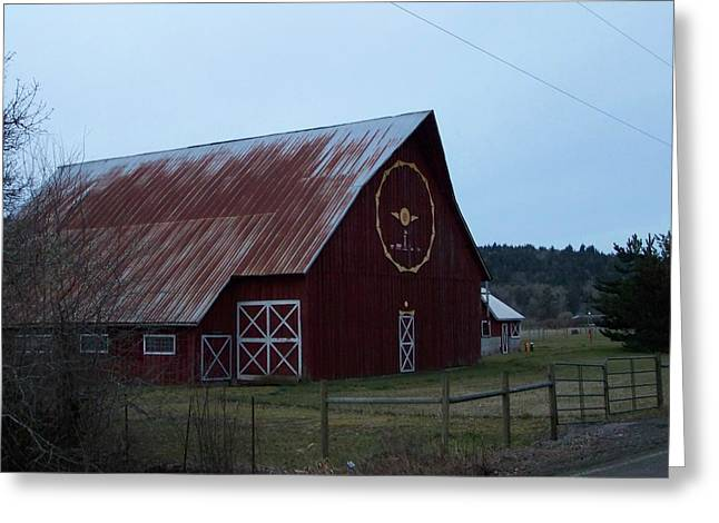 Treasures Pyrography Greeting Cards - Nice Red Barn Greeting Card by Laurie Kidd