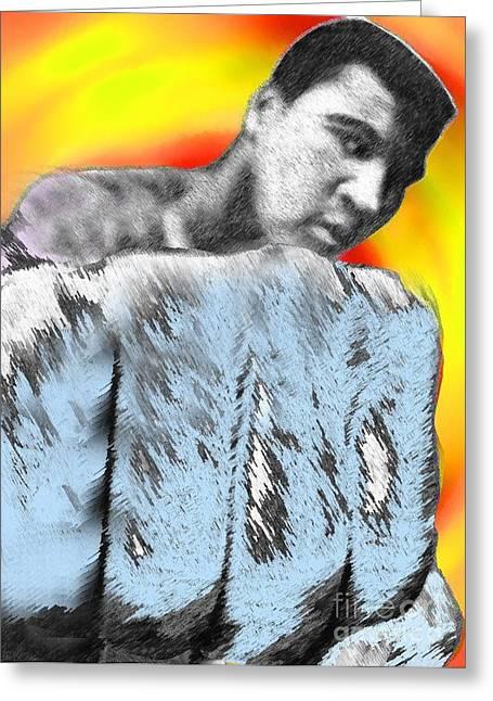 Nicholas Mixed Media Greeting Cards - Nicholas Nixo Ali Boxing Greeting Card by Nicolas Nixo