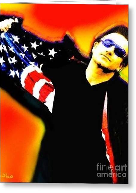 Nicholas Mixed Media Greeting Cards - Nicholas Nixo U2 Bono Greeting Card by Nicolas Nixo