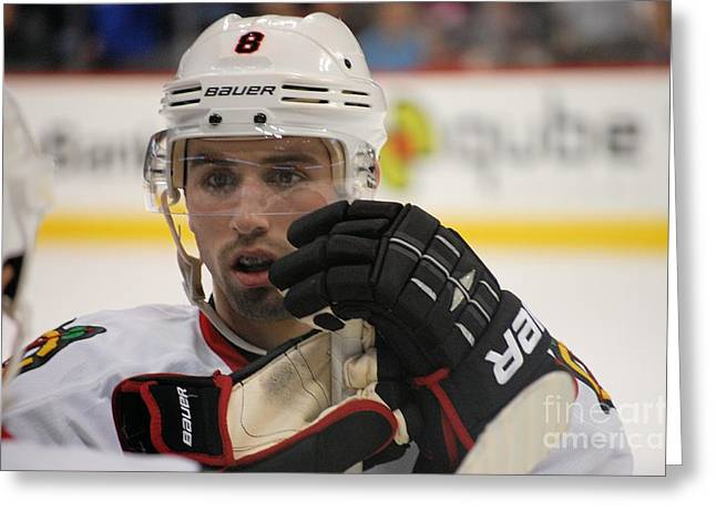 Nick Leddy - Chicago Blackhawks Greeting Card by Melissa Goodrich