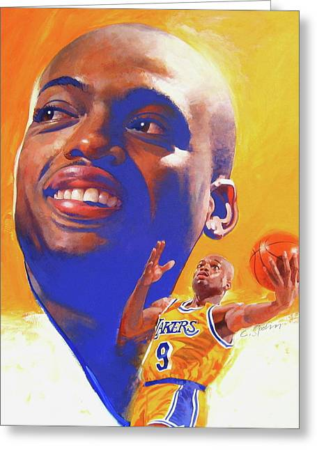 Lakers Mixed Media Greeting Cards - Nick Van Exel Greeting Card by Cliff Spohn