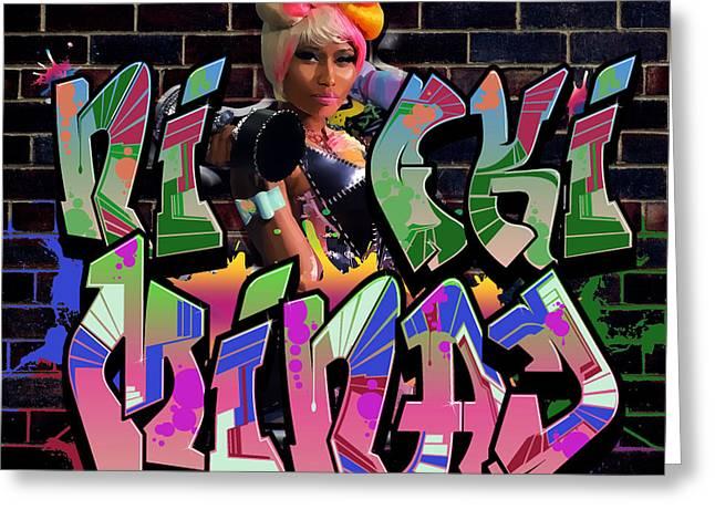 Nicki Minaj Greeting Cards - Nicki Minaj Graffiti by GBS Greeting Card by Anibal Diaz