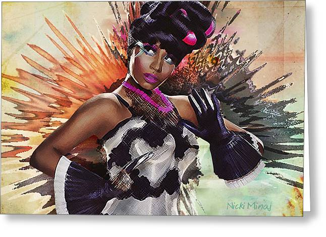 Nicki Minaj Greeting Cards - Nicki Minaj Splatter by GBS Greeting Card by Anibal Diaz