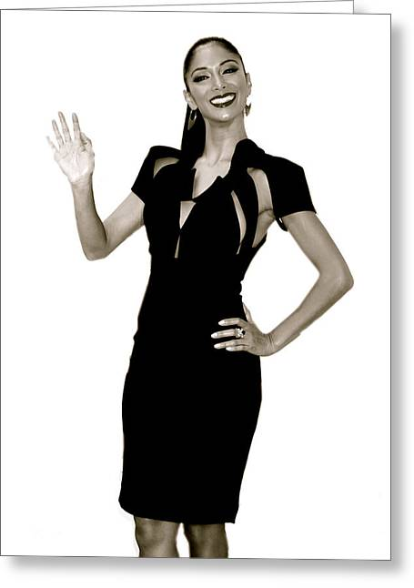 Nicole Scherzinger Greeting Cards - Nicole says hi all Greeting Card by Jez C Self