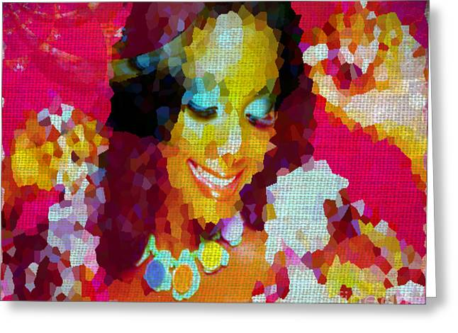 Calling Mixed Media Greeting Cards - Nigerian Girl Greeting Card by Fania Simon