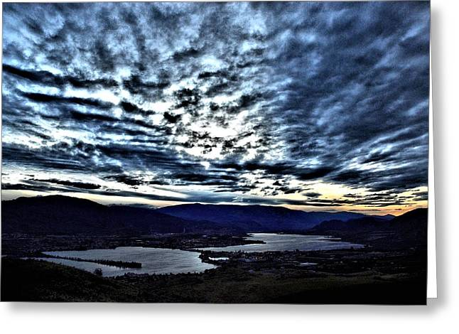 North Fork Digital Greeting Cards - Nighfall in the South Okanagan Valley Greeting Card by Don Mann