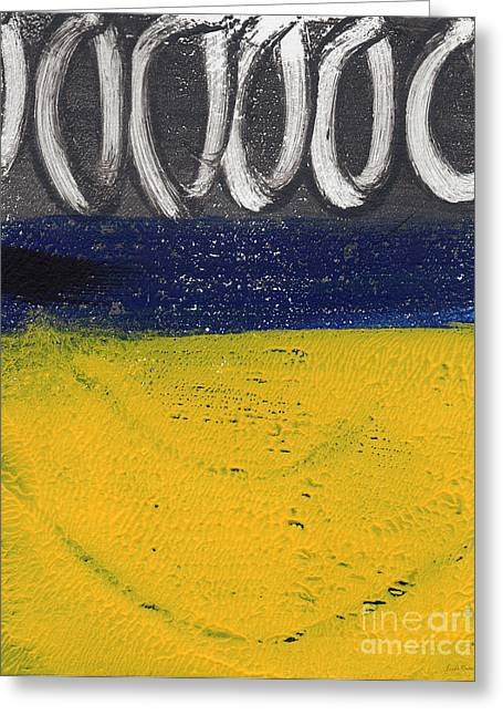 Blue Yellow Abstract Art Greeting Cards - Night and Day Greeting Card by Linda Woods