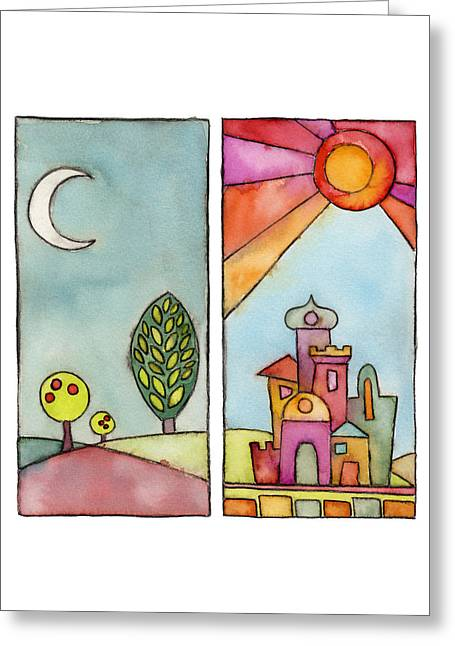 Judaical Art Greeting Cards - Night and Day Greeting Card by Susie Lubell