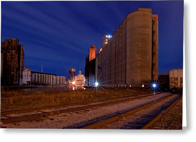 Grain Mill Greeting Cards - Night At Elevator Alley Greeting Card by Don Nieman