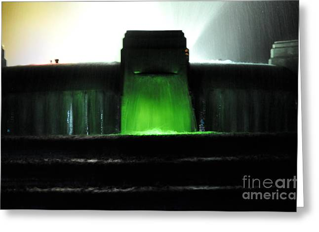Bruster Greeting Cards - Night at Mulholland Fountain Greeting Card by Clayton Bruster