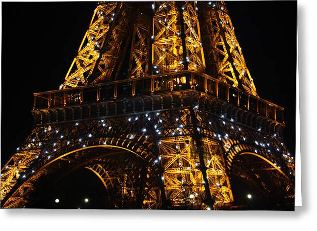 Champs Greeting Cards - Night at the Eiffel Greeting Card by Susie Weaver