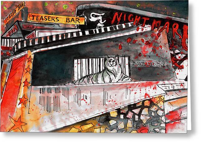 Napa Drawings Greeting Cards - Night Clubs in Ayia Napa Greeting Card by Miki De Goodaboom