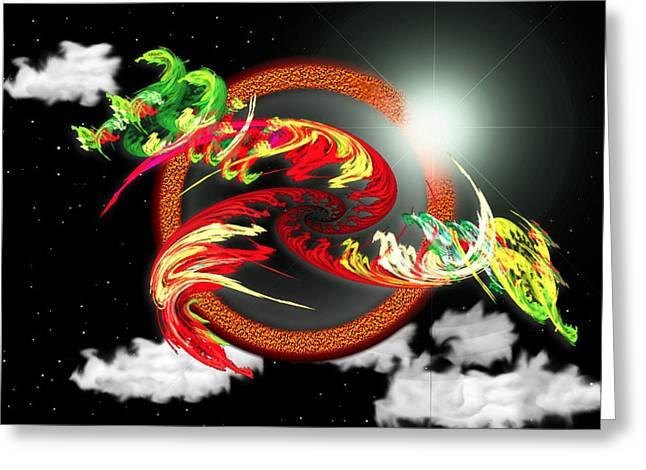 Mario Carini Greeting Cards - Night Dragon Greeting Card by Mario Carini