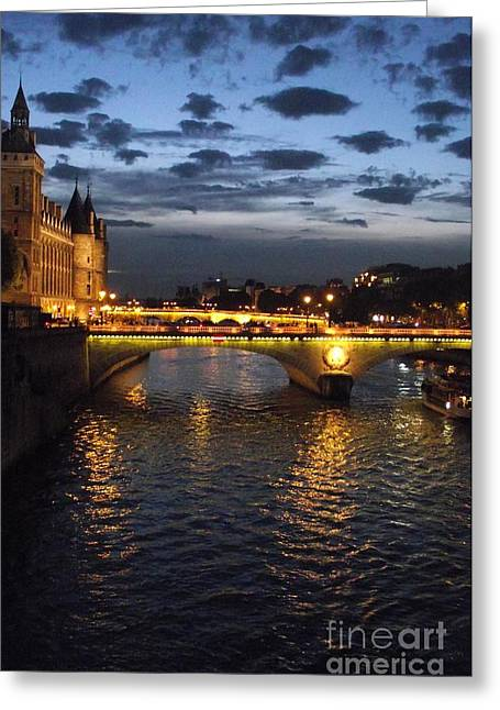 Shawna Gibson Greeting Cards - Night fall over the Seine Greeting Card by Shawna Gibson