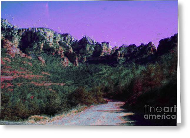 Sedona Mountains Greeting Cards - Night Falls on Sedona Greeting Card by Julie Lueders