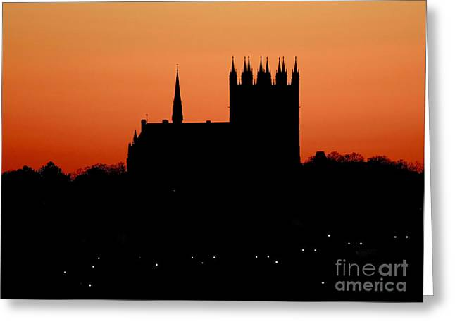 Shelley Myke Greeting Cards - Night Falls Over Church of Our Lady Greeting Card by Inspired Nature Photography By Shelley Myke