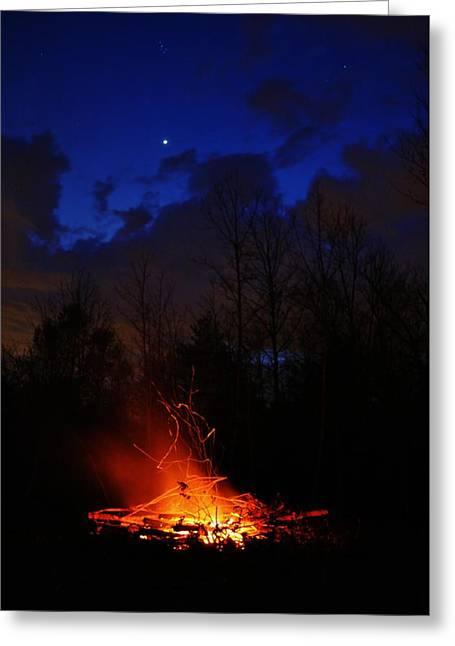 Jeff Moose Greeting Cards - Night Fire Greeting Card by Jeff Moose
