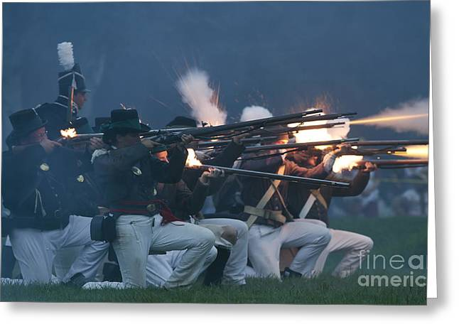 In 1812 Greeting Cards - Night Firing Greeting Card by JT Lewis