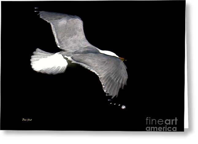 Reverse Art Greeting Cards - Night Flight Greeting Card by Dale   Ford