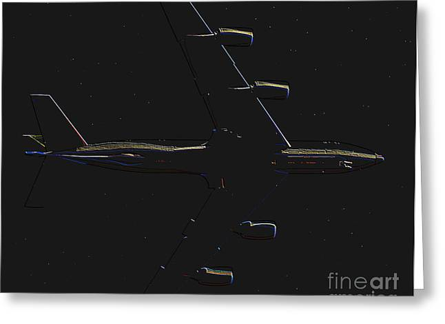 Commercial Aviation Greeting Cards - Night Flight Greeting Card by David Lee Thompson