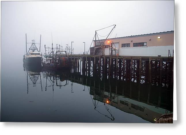Night Fog Along the Dock Greeting Card by Bob Orsillo
