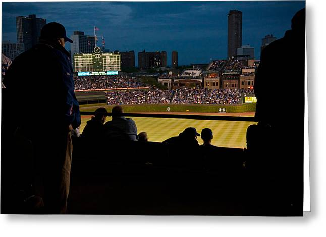 Friendly Confines Greeting Cards - Night Game at Wrigley Field Greeting Card by Anthony Doudt
