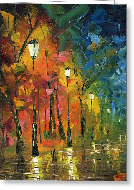Night In The Park Greeting Card by Ash Hussein