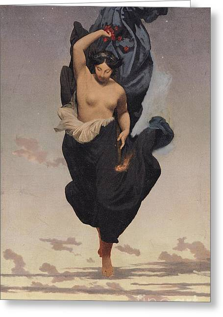 Personification Greeting Cards - Night Greeting Card by Jean Leon Gerome